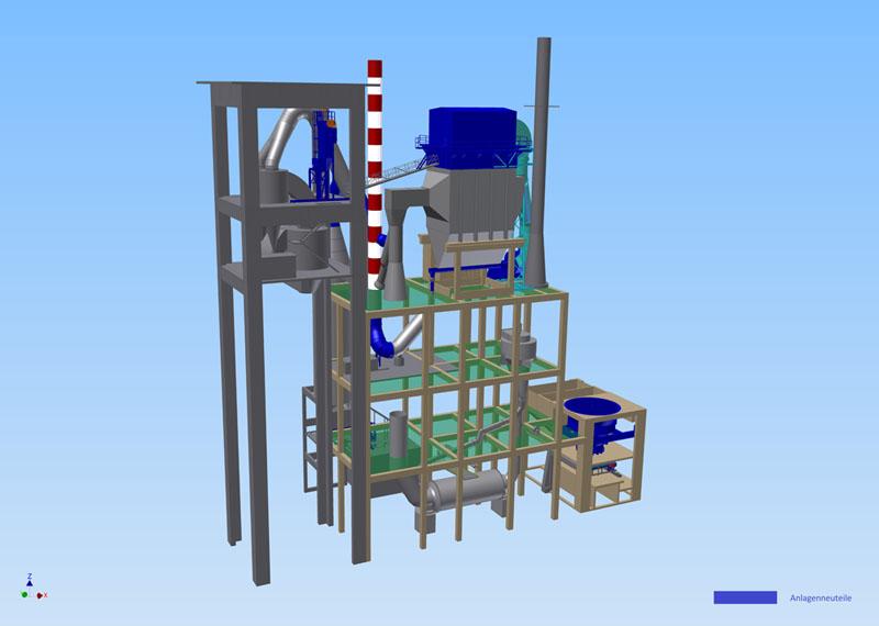 3D-Modell-einer-Rohmehl-Mahlanlage