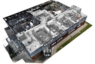 Farbige-Punktwolke-einer-Highschool-Isoperspektive-Grundriss